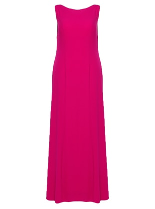 Fuchsia - Fully Lined - Crew neck - Muslim Plus Size Evening Dress