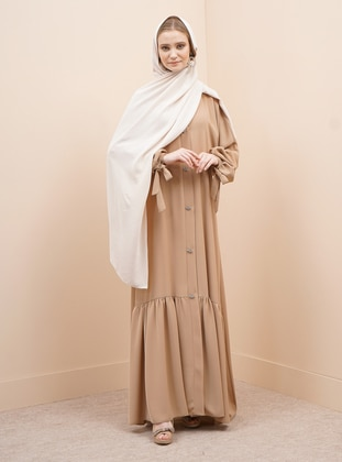Mink - Unlined - V neck Collar - Abaya