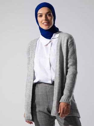 Gray - Acrylic - - Knit Cardigans