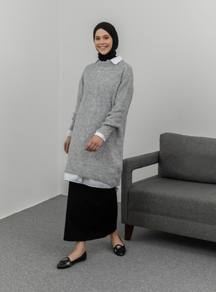 Gray - Crew neck - Knit Tunics