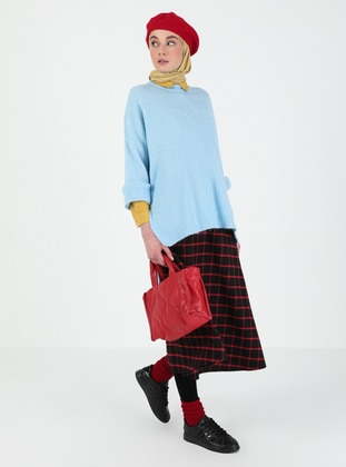 Blue - Polo neck - Knit Tunics