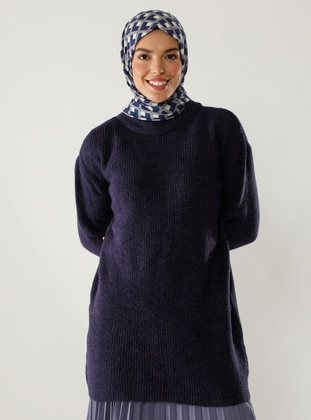 Purple - Crew neck - Knit Tunics