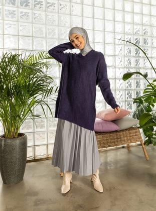 Purple - V neck Collar - Unlined - Knit Tunics