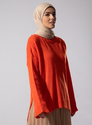 Orange - Polo neck - Acrylic -  - Tunic