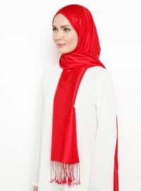 Red - Plain - Fringe - %100 Silk - Shawl