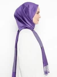 Purple - Plain - Fringe - %100 Silk - Shawl