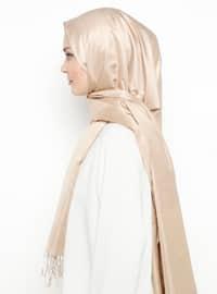 Gold - Mink - Plain - Fringe - %100 Silk - Shawl