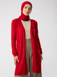 Red - Acrylic - - Knit Cardigans