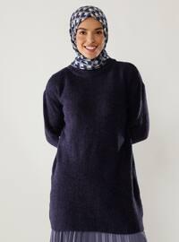 Purple - Crew neck - Knit Tunics