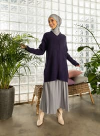 Purple - V neck Collar - Unlined - Knit Tunics