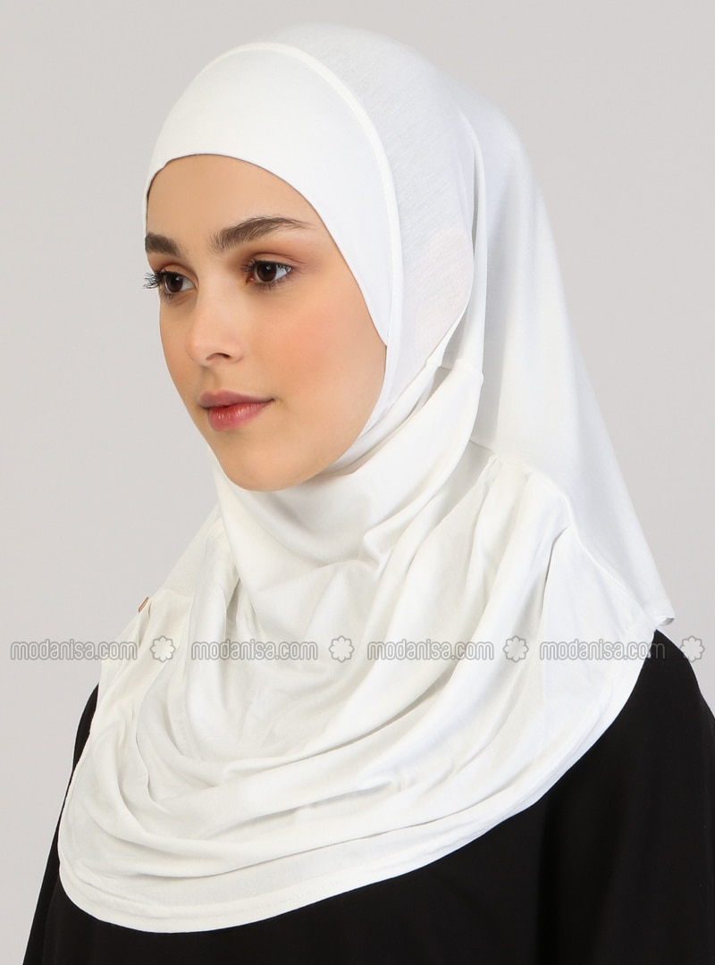 Cream - Plain - Viscose - Instant Scarf
