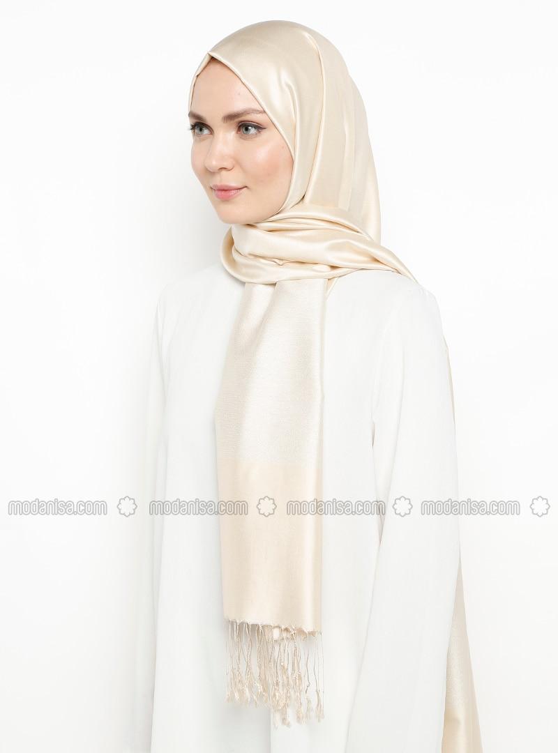 Ecru - Silver tone - Plain - Fringe - %100 Silk - Shawl