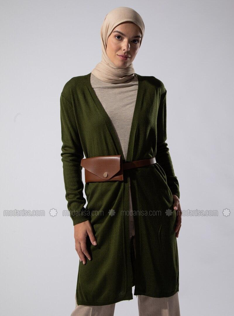 Khaki - Acrylic - - Knit Cardigans