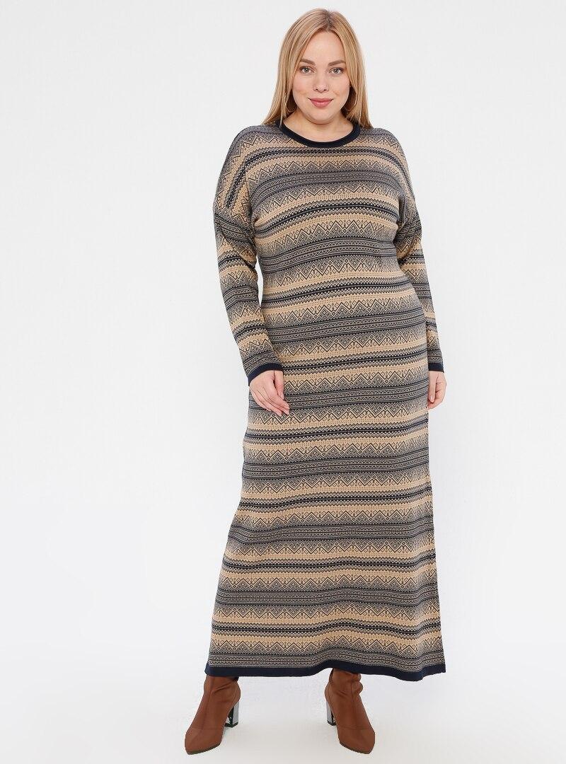 Tesettür Büyük Beden Triko Elbise NOVİNZA Camel Lacivert Kadın Standart