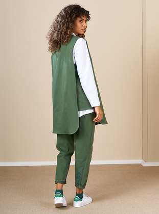 Khaki - Crew neck -  - Vest