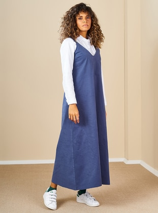Indigo - V neck Collar -  - Dress