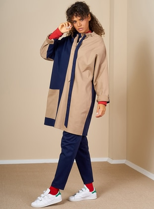 Beige - Navy Blue - Unlined - Polo neck -  - Trench Coat