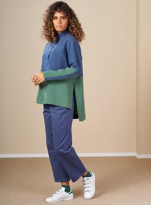 Indigo - Green - Button Collar -  - Tunic