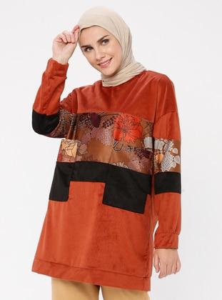 - Crew neck - Floral - Terra Cotta - Sweat-shirt