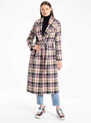 Purple - Stripe - Unlined - Acrylic - Wool Blend - Coat