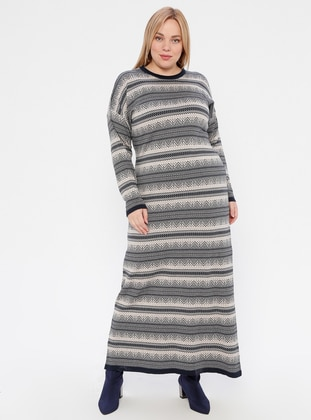 Beige - Navy Blue - Multi - Unlined - Crew neck - Acrylic -  -  - Plus Size Dress