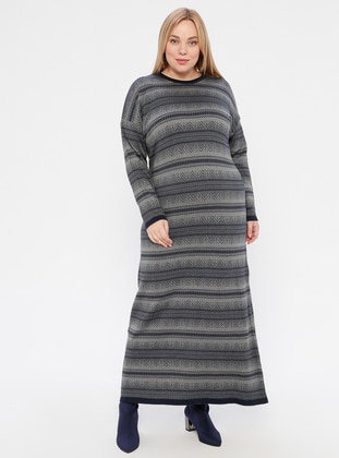 Gray - Navy Blue - Multi - Unlined - Crew neck - Acrylic -  -  - Plus Size Dress