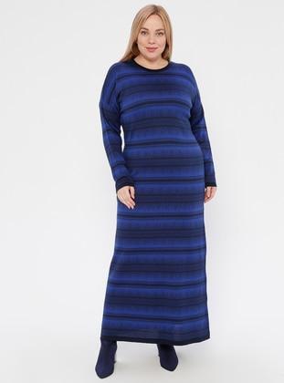 Navy Blue - Saxe - Multi - Unlined - Crew neck - Acrylic -  -  - Plus Size Dress