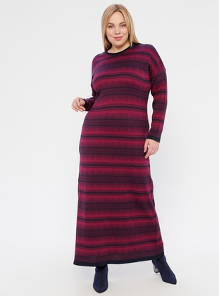 Navy Blue - Cherry - Multi - Unlined - Crew neck - Acrylic -  -  - Plus Size Dress - NOVİNZA