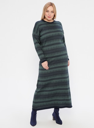 Navy Blue - Green - Multi - Unlined - Crew neck - Acrylic -  -  - Plus Size Dress - NOVİNZA