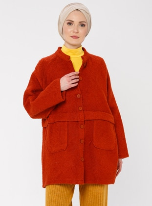 Terra Cotta - Unlined - V neck Collar -  - Jacket