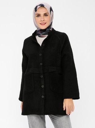 Black - Unlined - V neck Collar -  - Jacket