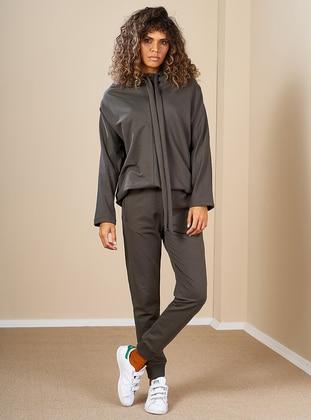 Khaki -  - Polo neck - Tracksuit Set