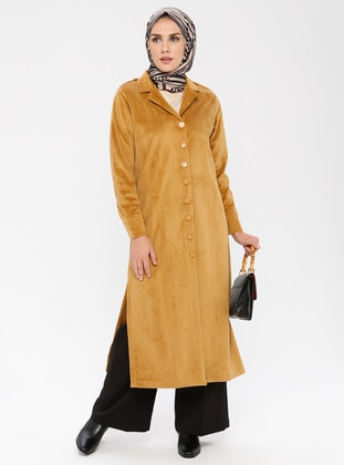 Mustard - Unlined - Shawl Collar -  - Trench Coat