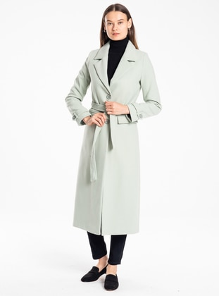 Mint - Unlined - V neck Collar - Acrylic - Wool Blend - Coat
