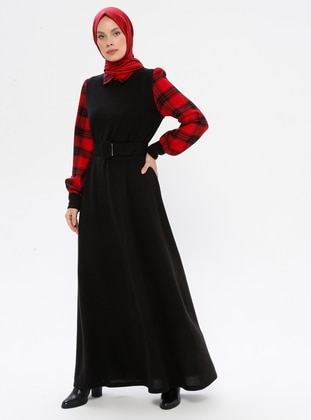 Black - Plaid - Point Collar - Unlined - Dress