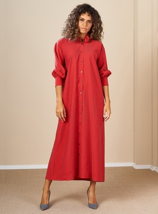 Red - Crew neck -  - Dress