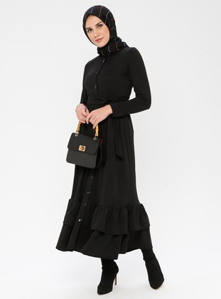 Black - Stripe - Point Collar - Unlined -  - Dress