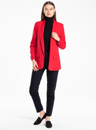 Red - Unlined - Acrylic - Wool Blend - Jacket