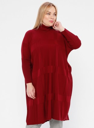 Maroon - Polo neck - Acrylic -  - Plus Size Tunic