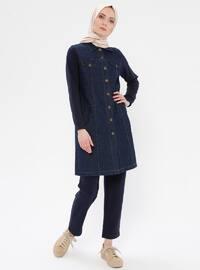 Navy Blue - Unlined - Denim -  - Suit