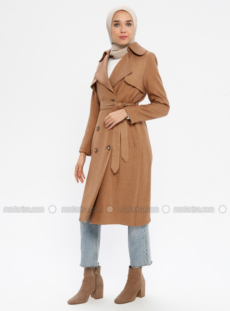 Camel - Fully Lined - Shawl Collar - Trench Coat
