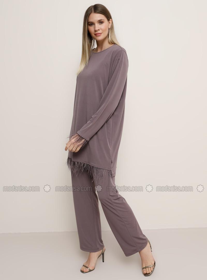 Purple - Crew neck - Unlined - Plus Size Suit