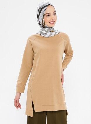- Crew neck - Camel - Sweat-shirt