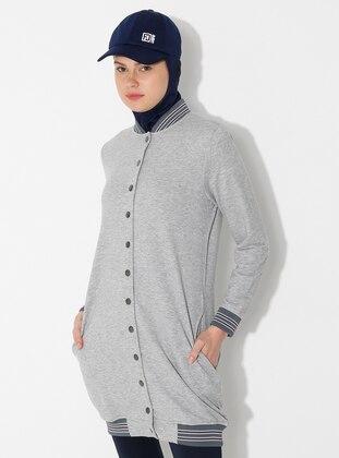 Gray - Unlined - Crew neck -  - Topcoat - Saye Modest