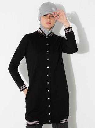 Black - Unlined - Crew neck -  - Topcoat