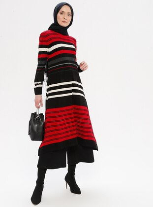 Multi - Red - Stripe - Crew neck - Acrylic -  - Tunic