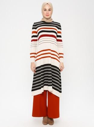 Black - Stripe - Crew neck - Acrylic -  - Tunic