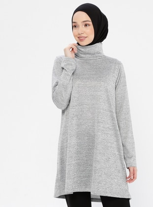 Gray -  - Polo neck - Tracksuit Top