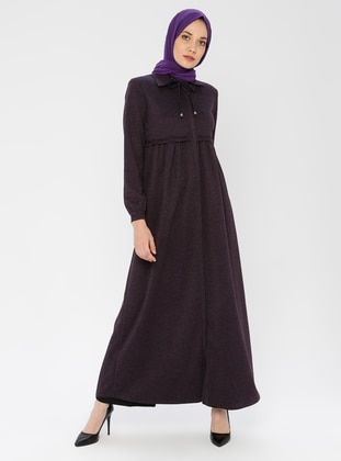 Plum - Unlined - Point Collar - Abaya