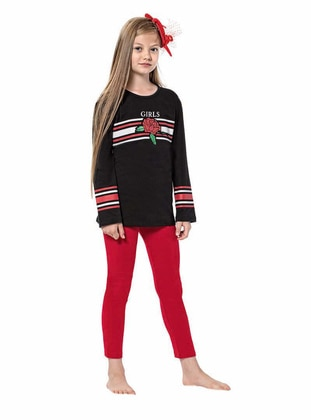Crew neck -  - Unlined - Black - Girls` Suit - Larice Kids